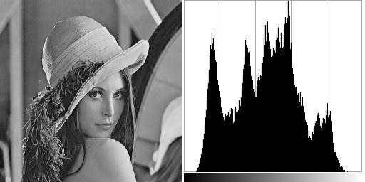 Lena image and its histogram.