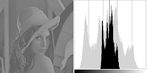 Low contrast Lena and its histogram.